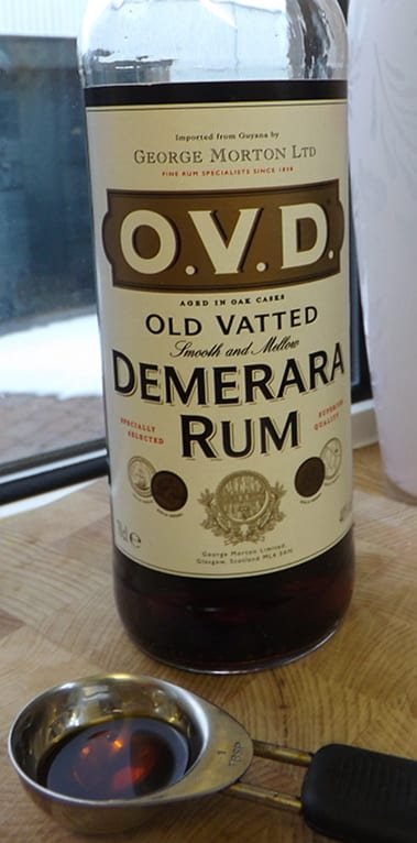 A bottle of OVD dark rum