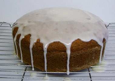 banana cake iced with lemon icing
