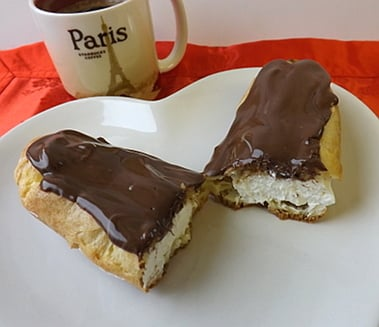 chocolate eclair cut in half