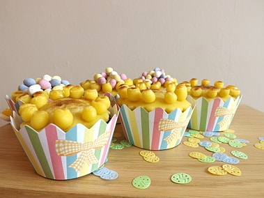 traditional simnel cupcakes in front
