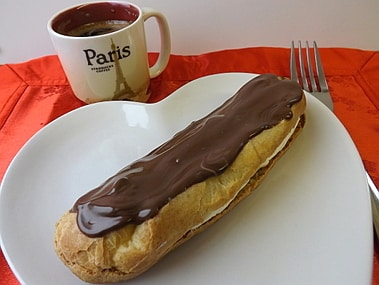 chocolate eclair with espresso