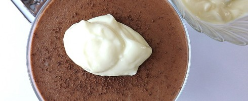 chocolate moose with a dollop of lemon yogurt on top