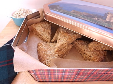oaty crumbles in a cake tin