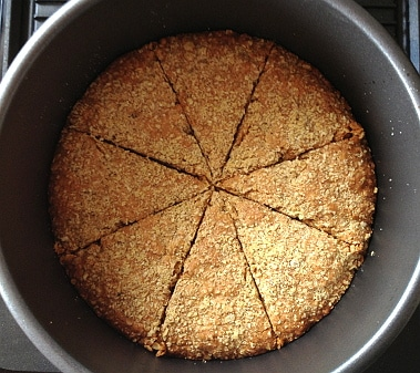Oaty crumble with slices marked out