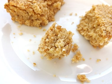 a broken up oaty crumble, extremely close up