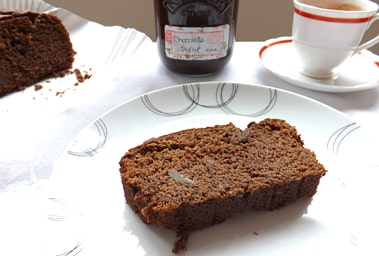 a slice of chocolate and banana loaf