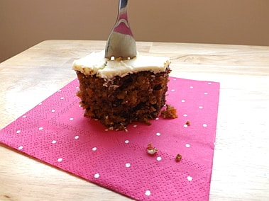 carrot cake slice with a cake fork