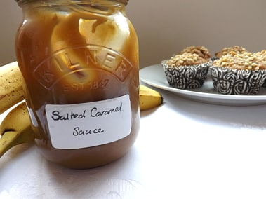 a jar of salted caramel sauce
