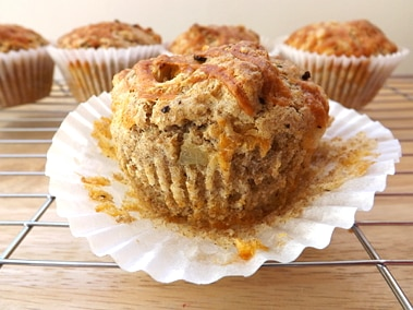 muffin with its liner peeled down