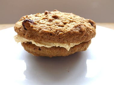 close up of a pumpkin whoopie pie