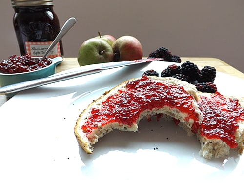 blackberry and apple jam on bread and butter