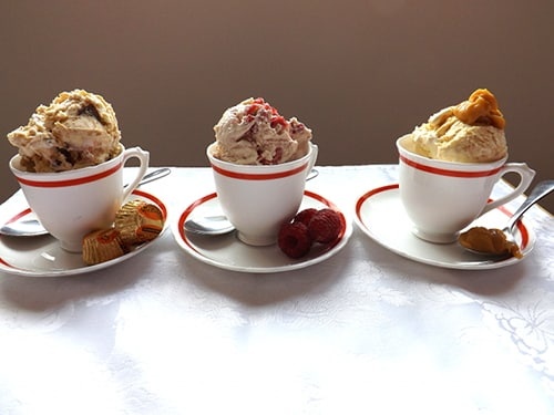 No churn ice creams, flavours - raspberry, peanut butter and salted caramel.