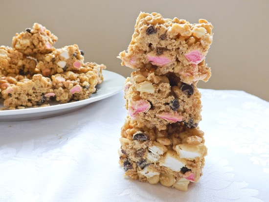 White Chocolate and Peanut Butter Krispie Treats.