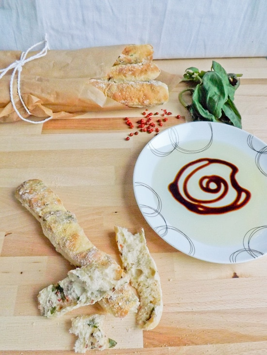 Pink Peppercorn and Basil Breadsticks