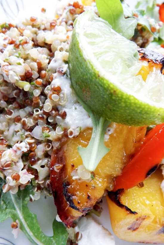 Grilled Nectarine Quinoa Salad with Wild Rocket Pesto and Goats Cheese