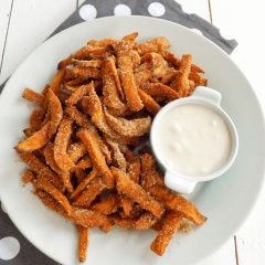Cinnamon Sugar Coated Sweet Potato Fries
