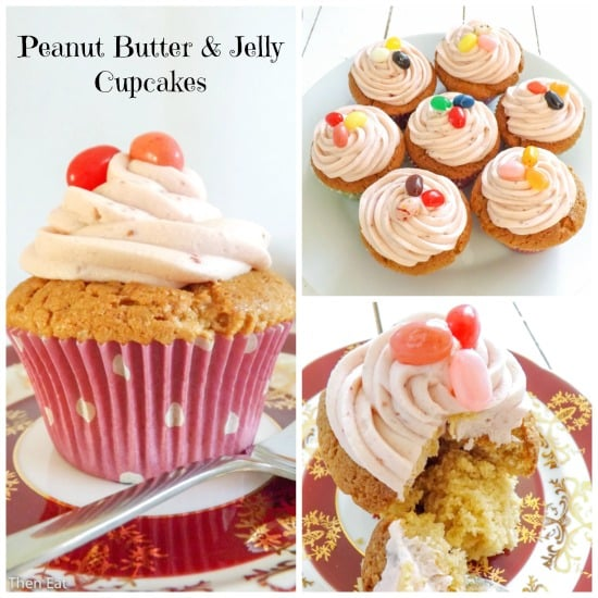 ... you are going to go mad for these peanut butter and jelly cupcakes