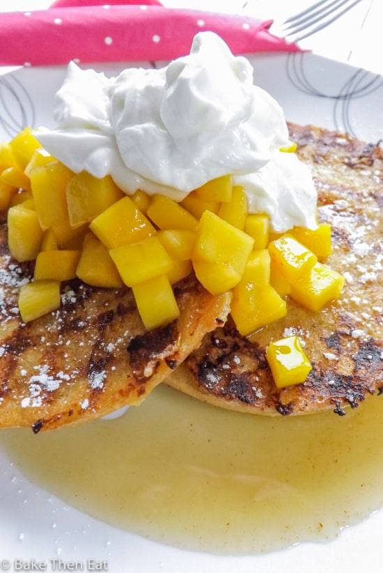 French Toast Bagels with Maple Mango Salsa