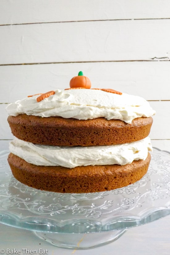 Spiced Pumpkin Cake with Maple Frosting - Bake Then Eat