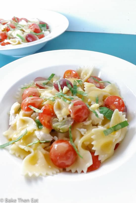 Maple Dressed Tomato and Mozzarella Pasta Salad