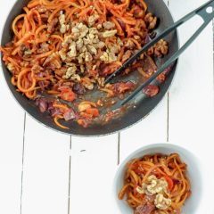 Butternut Squash Noodle and Walnut Stir Fry