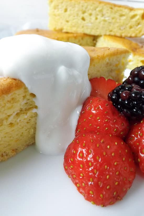 Light Airy Orange Lemon Snack Cake Served With Fat Free Fromage Frais and Berries | BakeThenEat.com