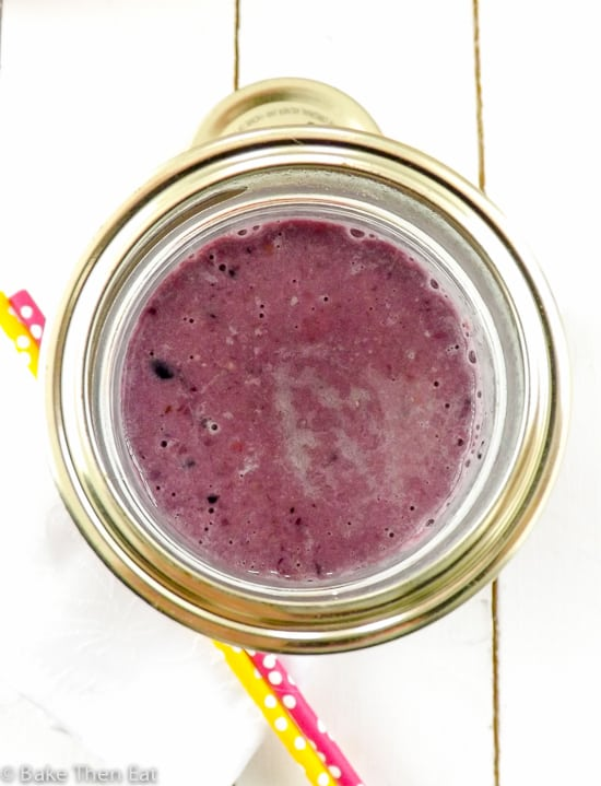 Gluten Free Very Berry Oat Shake in a portable jar | BakeThenEat.com