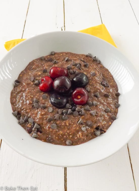 Lactose and Gluten Free Overnight Chocolate Cherry Oats | BakeThenEat.com
