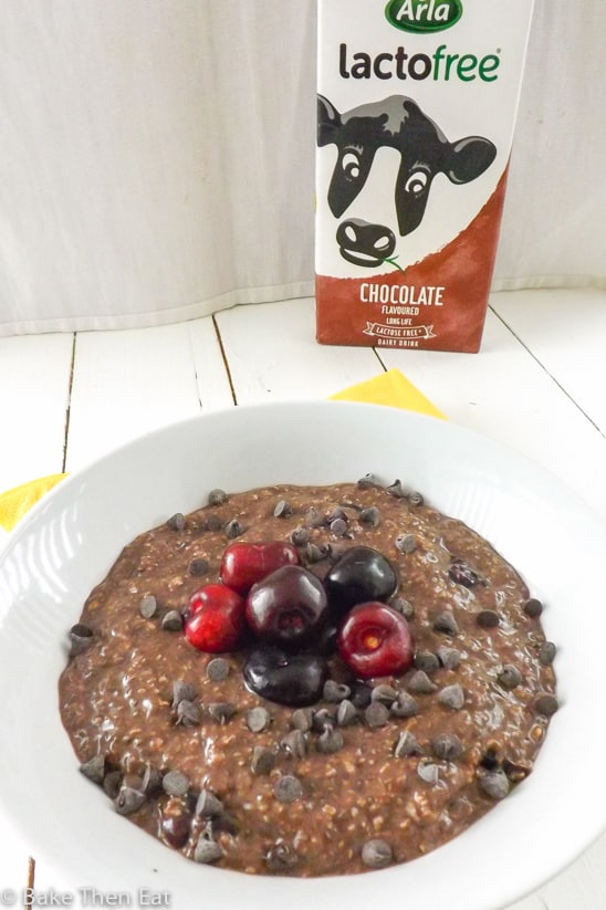 Lactose and Gluten Free Overnight Chocolate Cherry Oats with Arla LactoFree Chocolate Milk | BakeThenEat.com