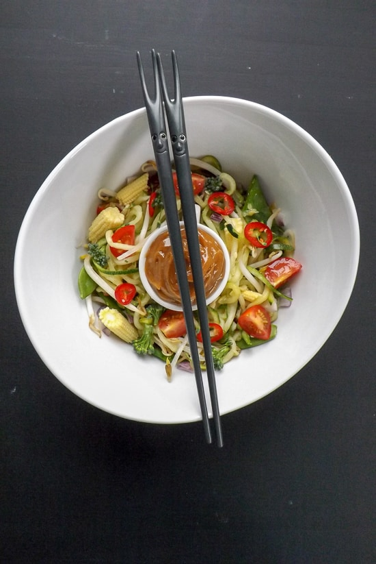 Peanut Butter Sauce Zucchini Noodle Salad With Chop Sticks | BakeThenEat.com