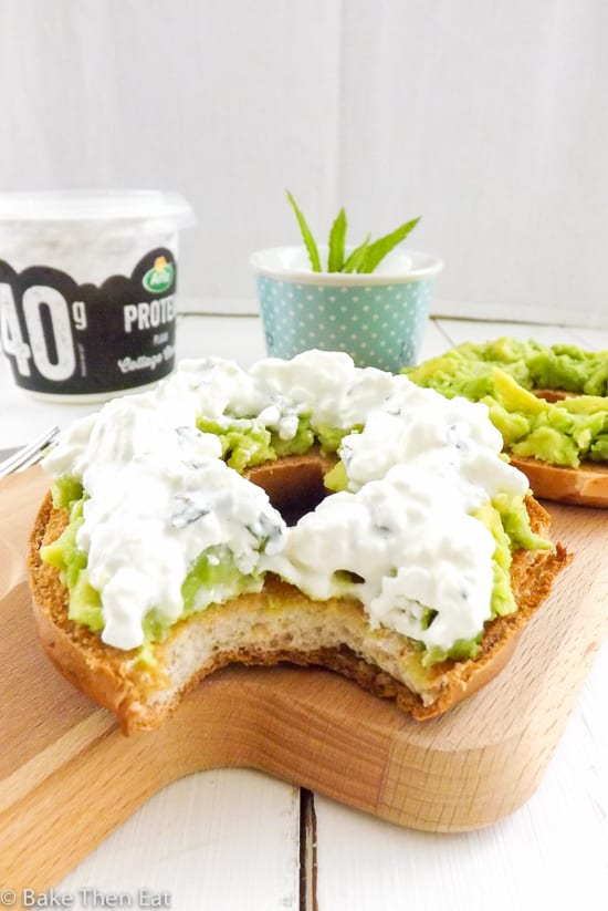 Protein Rich Mint Cottage Cheese Avocado Gluten Free Bagel close up | BakeThenEat.com