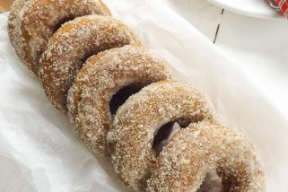 Vegan Cinnamon Sugar Coated Baked Pumpkin Donuts