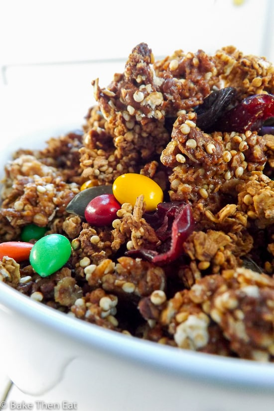 Peanut Butter and Coffee Granola | BakeThenEat.com