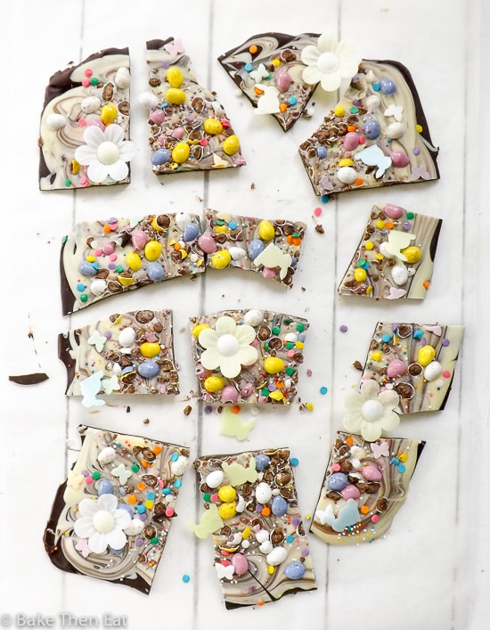 Easter Themed Double Chocolate Bark | BakeThenEat.com