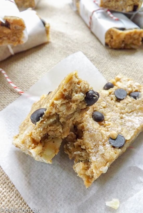 No Bake Peanut Butter Ginger Chocolate Chip Granola Bars - Bake Then ...