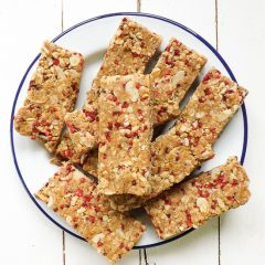 No Bake Raspberry Almond Granola Bars