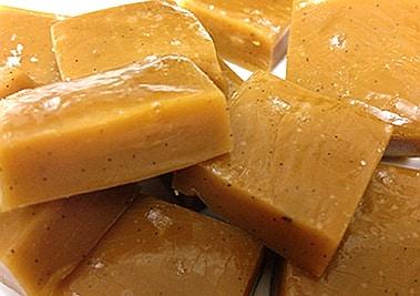 close up of salted vanilla bean caramels