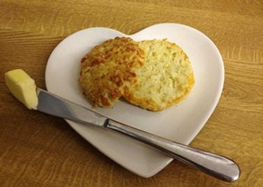 cheese scone cut open