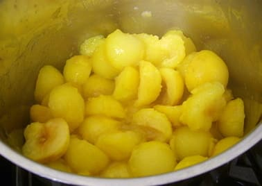 plums stewing in the pot