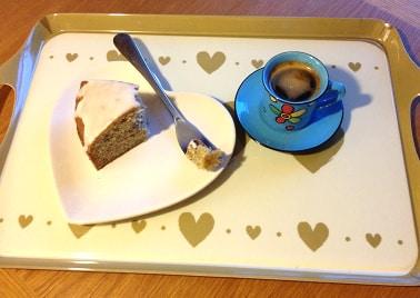 a slice of banana cake with espresso