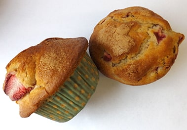 2 strawberry and vanilla muffins