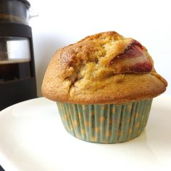 Strawberry and Vanilla Coffee Shop Style Muffins