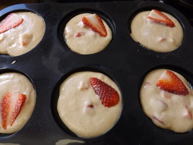 muffin mix in pan ready for the oven