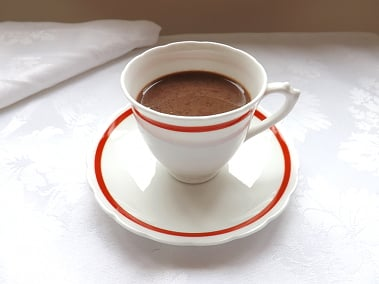 hot chocolate in a cup with saucer