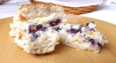 scone cut open with blueberries