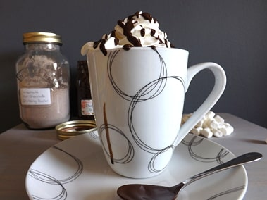 hot chocolate with all the trimmings, marshmallows and cream