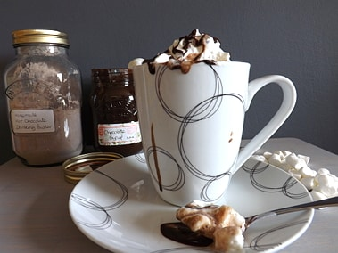 hot chocolate with chocolate powder in the shot