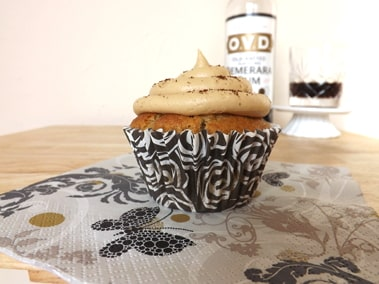 cupcake with a bottle of dark rum