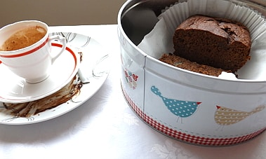chocolate and banana loaf in a tin