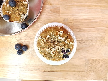 over head shot of a skinny banana and blueberry muffin